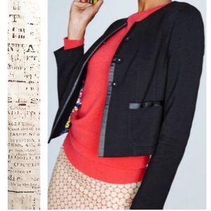 Boden Ponte Jacket Snap Front Ribbon Trim Blazer